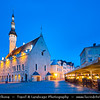 Europe - Estonia - Tallinn - Capital City on Shores of Baltic Sea & Gulf of Finland - UNESCO World Heritage Site - Historic Centre - Old Town - Town Hall Square - Raekoja plats - Dusk - Twilight - Blue Hour