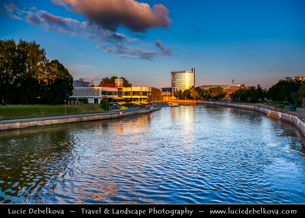 Europe - Estonia - Tartu - University town on Emajõgi river - Intellectual & cultural hub of the country - New City skyline along river banks during long summer evening