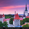 Europe - Estonia - Tallinn - Capital City on Shores of Baltic Sea & Gulf of Finland - UNESCO World Heritage Site - Historic Centre - One of best-preserved medieval old towns in Northern Europe - View from Toompea Hill at sunset time
