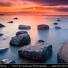 Europe - Estonia - Harju County - Lahemaa National Park - Boulders in Käsmu at Gulf of Finland - Baltic coast - Largest field of stones in Estonia, the big Uustalu Suurekivi - Summer Sunset