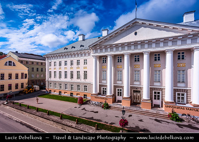 Europe - Estonia - Tartu County - Tartu - University town on Emajõgi river - Intellectual & cultural hub of the country - University of Tartu Main Building - Tartu Ülikool - One of the finest specimens of neoclassical architecture in Estonia - Sunny Day