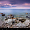 Europe - Estonia - Tallinn - Capital City - Stormy Sunset on Rocky Shores of Baltic Sea & Gulf of Finland