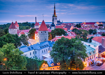 Europe - Estonia - Tallinn - Capital City on Shores of Baltic Sea & Gulf of Finland - UNESCO World Heritage Site - Historic Centre - One of best-preserved medieval old towns in Northern Europe - View from Toompea Hill at Dusk - Twilight - Blue Hour - Night
