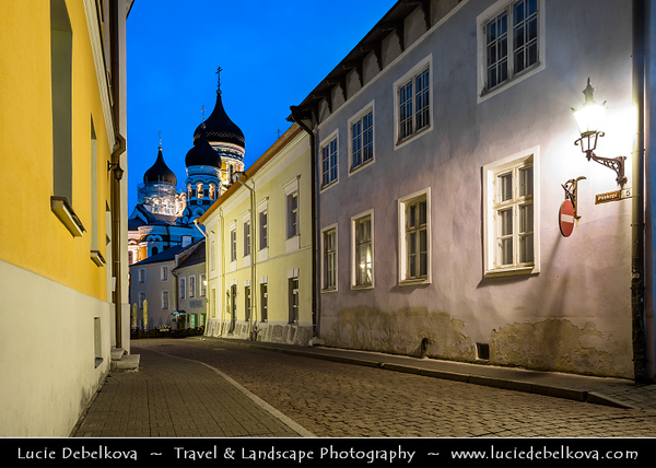 Europe - Estonia - Tallinn - Capital City on Shores of Baltic Sea & Gulf of Finland - UNESCO World Heritage Site - Historic Centre - One of best-preserved medieval old towns in Northern Europe - Toompea at Dusk - Twilight - Blue Hour - Night