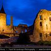 Europe - Estonia - Lääne County - Haapsalu - Haapasalo - Venice of the North - Seaside resort town on shores of Baltic Sea - Haapsalu Castle - Haapsalu Episcopal Castle - Haapsalu piiskopilinnus - Dusk - Twilight - Blue Hour - Night