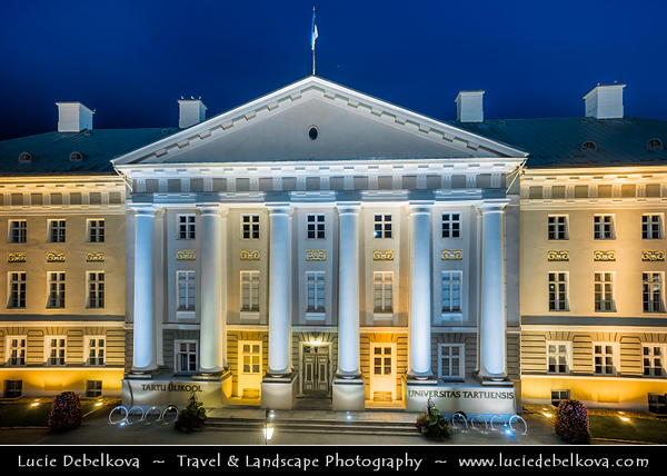 Europe - Estonia - Tartu County - Tartu - University town on Emajõgi river - Intellectual & cultural hub of the country - University of Tartu Main Building - Tartu Ülikool - One of the finest specimens of neoclassical architecture in Estonia - Blue Hour - Dusk - Twilight - Night