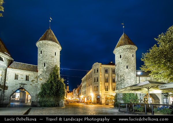 Europe - Estonia - Tallinn - Capital City on Shores of Baltic Sea & Gulf of Finland - UNESCO World Heritage Site - Historic Centre - One of best-preserved medieval old towns in Northern Europe - Viru Gates at Dusk - Twilight - Blue Hour - Night