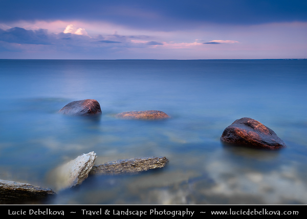 Europe - Estonia - Tallinn - Capital City - Stormy Sunset on Rocky Shores of Baltic Sea & Gulf of Finland