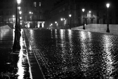 Wet cobblestone bridge. Paris, France.
