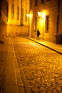 Streets of Prague at night.