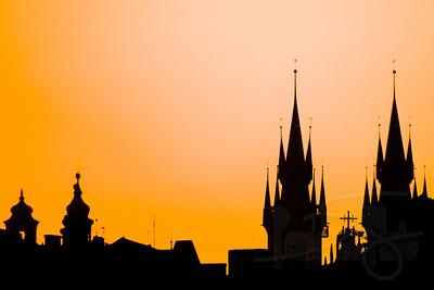 Dawn skyline. Prague.