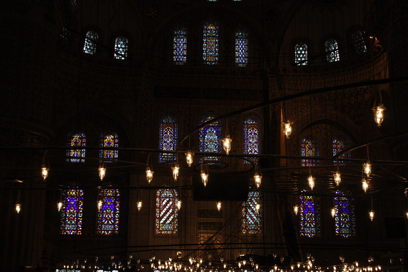 Candleabras and stained glass windows