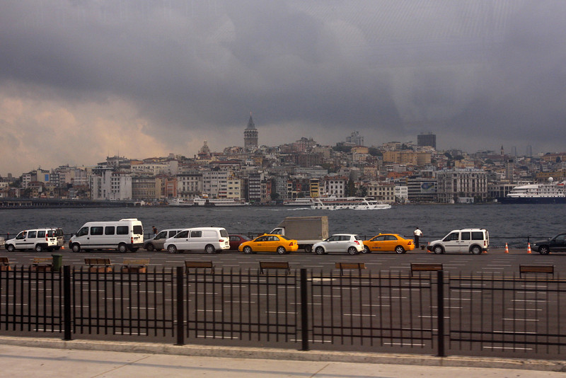 Galata Tower, Istanbul seen from the shuttle from the airport