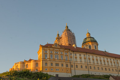 The Melk Abbey at sunset.