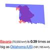 Bavaria, shown relative to size of Oklahoma