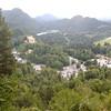 view from Neuschwannstein, looking down at Hohen Schwanngau and the Schwannsee.