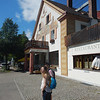 Marissa, in front of our hotel, the Gasthaus\Hotel Braustuberl.