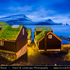 Europe - Faroe Islands - Faroes - Føroyar - Færøerne - Island group & archipelago under the sovereignty of the Kingdom of Denmark situated between the Norwegian Sea and the North Atlantic Ocean - Vágar Island - Bour - Bøur - Shores of the tiny traditional village with a black sand beach at the Sorvagsfjorour - Sørvágsfjørður -