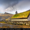 Europe - Faroe Islands - Faroes - Føroyar - Færøerne - Island group & archipelago under the sovereignty of the Kingdom of Denmark situated between the Norwegian Sea and the North Atlantic Ocean - Island of Streymoy - Saksun - Traditional small village near the north-west coast of the Faroese island of Streymoy - One of the most famous views from Faroes with grass/turf roofs houses set agains stunning mountains and fjord