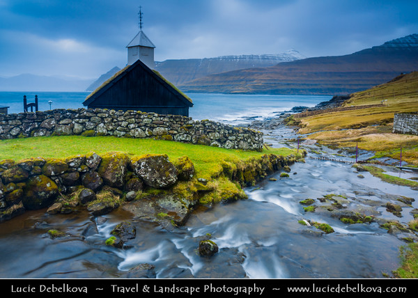 Europe - Faroe Islands - Faroes - Føroyar - Færøerne - Island group & archipelago under the sovereignty of the Kingdom of Denmark situated between the Norwegian Sea and the North Atlantic Ocean - Island of Eysturoy - Funningur - Small town on the north-west coast of Eysturoy