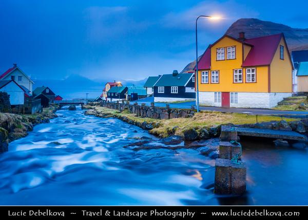 Europe - Faroe Islands - Faroes - Føroyar - Færøerne - Island group & archipelago under the sovereignty of the Kingdom of Denmark situated between the Norwegian Sea and the North Atlantic Ocean - Island of Eysturoy - Gjógv - Traditional village located on the northeast tip Eysturoy