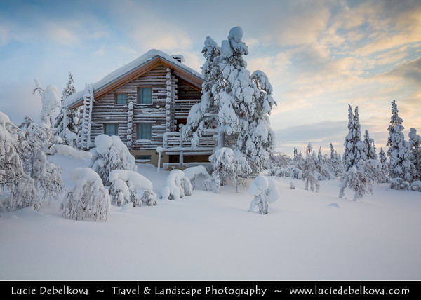 Europe - Finland - Lapland - Lappi - The largest & northernmost region of Finland - North of the Arctic Circle - Saariselkä - Suoločielgi - Winter sports center high up in a mountainous area of Finnish Lapland - 250 km north of the Arctic Circle