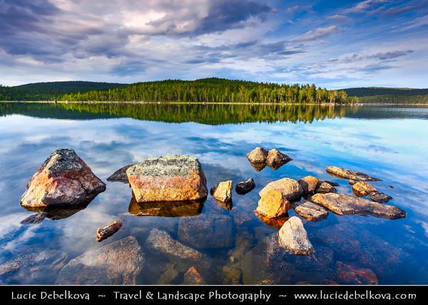 Finland - Lapland - Lappi - The largest & northernmost region of Finland - North of the Arctic Circle - Lake Inari - Inarijärvi - Inarinjärvi - Anárjávri - The third largest lake in Finland & the largest lake in Sápmi - Stunning Finnish Nature and Lake Reflections