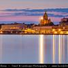 Finland - Helsinki - Helsingfors - Evening View of Russian Orthodox Church called Uspensky (Uspenski) Cathedral reflected in Baltic Sea - Dusk - Blue Hour - Twilight