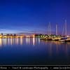 Finland - Helsinki - Helsingfors - Night View of Harbor at Dusk