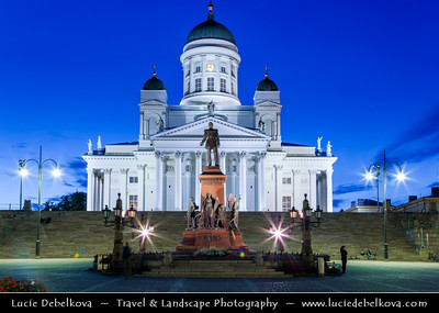 Finland - Helsinki - Helsingfors - The Tuomiokirkko - Lutheran Cathedral - in Senate Square at Dusk - Blue Hour - Twilight