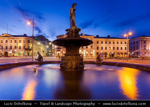 Finland - Helsinki - Helsingfors - Sea Lion Fountain - Havis Amanda - the Mermaid statue 1908 by Ville Vallgren on the Market Square - Kauppatori - Salutorget - Central square in Helsinki & one of the most famous market places - Dusk - Blue Hour - Twilight