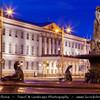Finland - Helsinki - Helsingfors - Helsinki City Hall - Kaupungintalo & Sea Lion Fountain - Havis Amanda - the Mermaid statue 1908 by Ville Vallgren on the Market Square - Kauppatori - Salutorget - Central square in Helsinki & one of the most famous market places - Dusk - Blue Hour - Twilight