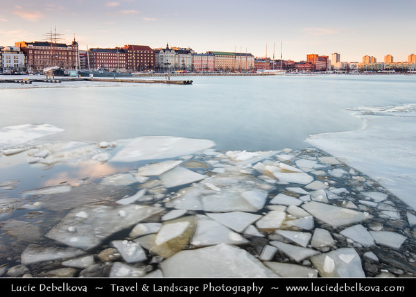 Europe - Finland - Helsinki - Helsingfors - Frozen sea shore with pieces of ice in the middle of the city