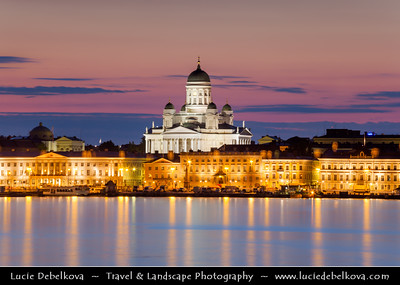 Finland - Helsinki - Helsingfors - The Tuomiokirkko - Lutheran Cathedral - as seen from the shores of the Gulf of Finland - The easternmost arm of the Baltic Sea - Dusk - Blue Hour - Twilight