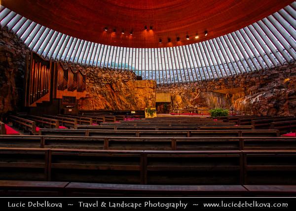 Finland - Helsinki - Helsingfors - Temppeliaukio Church - Unusual House of Worship built underground in Central Helsinki
