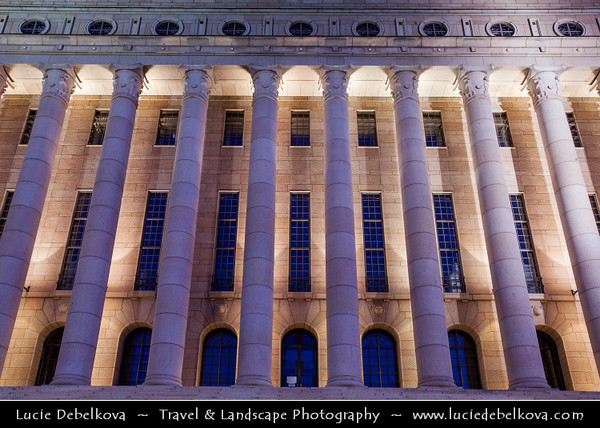 Finland - Helsinki - Helsingfors - Evening View of Row of Columns of Parliament Building at Dusk
