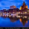 Finland - Helsinki - Helsingfors - Evening View of Russian Orthodox Church called Uspensky (Uspenski) Cathedral reflected in the sea- Dusk - Blue Hour - Twilight