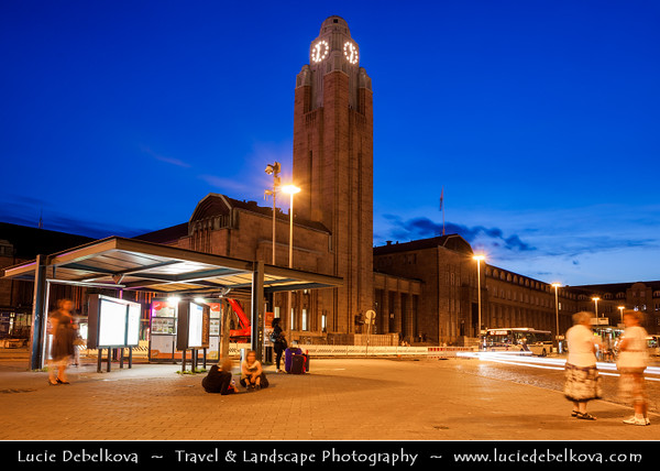 Finland - Helsinki - Helsingfors - Evening View of Railway Stati