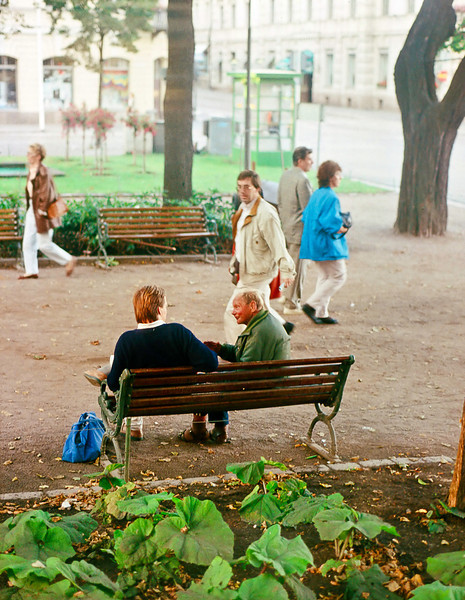 A conversation in the park before a bed of what look like, but probably aren't, squash plants.