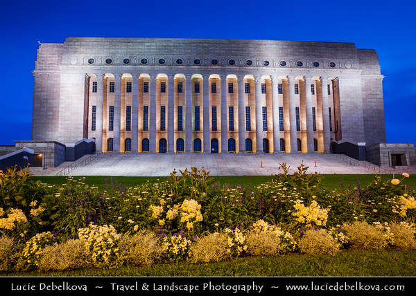 Finland - Helsinki - Helsingfors - Evening View of Parliament Bu