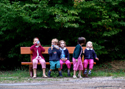 Children rest at the Reims Mountain Regional Nature Park, France