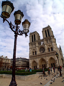 Notre Dame Cathedral frontal view seen from the place du Parvis