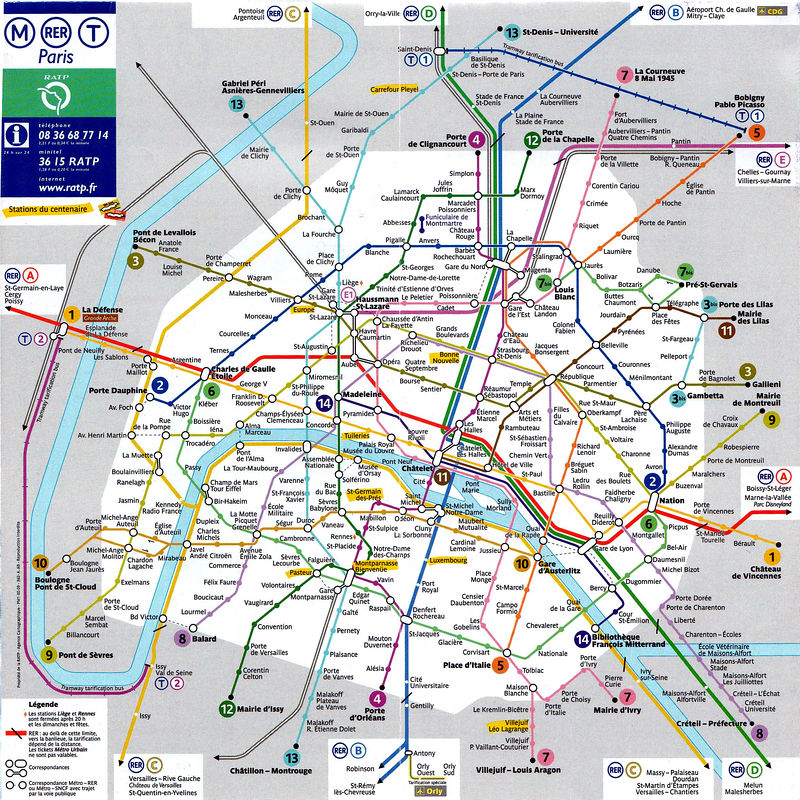 Map Of Paris Metro System The Metro Opened On 19 July 1900 Its First