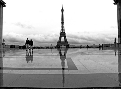 Eiffel Tower and reflection as seen from the Trocadero