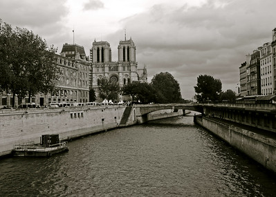 The Notre Dame Cathedral overlooks the Seine River