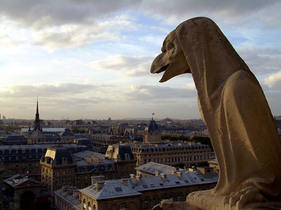 Gargoyles on top of the Notre Dame, Paris France