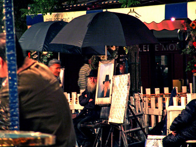 Painter with his Self Portrait, Montmartre