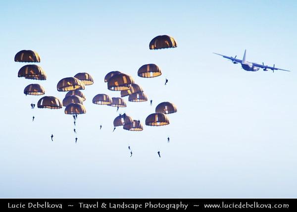 Europe - France - Normandy - Normandie - Military parachute training above Mont Saint-Michel - Saint Michael's Mount