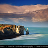Europe - France - Normandy - Haute-Normandie - Étretat - Stunning white cliffs, world-famous for their naturally formed three natural arches and the pointed needle - One of France's most recognisable landscapes