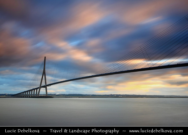 Europe - France - Normandy - Normandie - Honfleur - Pont de Normandie - Cable-stayed road bridge that spans the river Seine linking Le Havre to Honfleur - Total length is 2,143.21 metres – 856 metres between the two piers